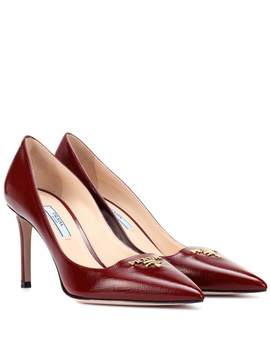 Leather Logo Pumps by Prada