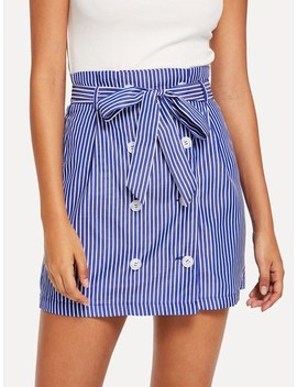 Double Breasted Self Belted Striped Skirt by Shein