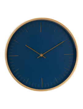 House By John Lewis Wall Clock, Navy/Brass, 30cm by House By John Lewis