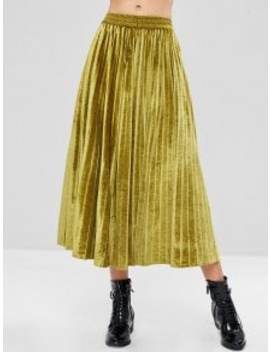 Maxi Pleated Accordion Velvet Skirt   Harvest Yellow S by Zaful