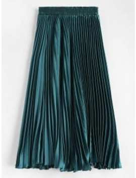 Maxi Pleated Skirt   Greenish Blue by Zaful