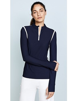 Parallel Stripe Reflective Quarter Zip Pullover by Tory Sport