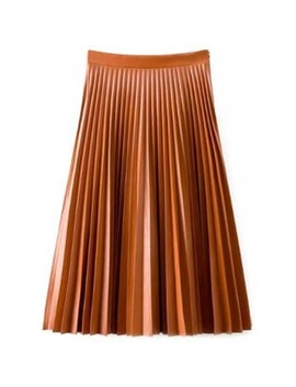 "<P>Accordion Pleat Pu Leather Skirt</P><I Class=""Icon Down Js Tap Up Down""></I> by Dress Lily"
