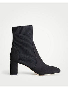 Carla Sock Block Heel Booties by Ann Taylor