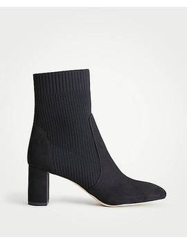 Carla Sock Block Heel Booties by Ann Taylor
