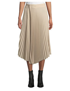 Draped Pleated Midi Skirt by Vince