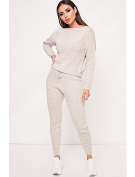 Kelly Stone Knitted Loungewear Set by Misspap