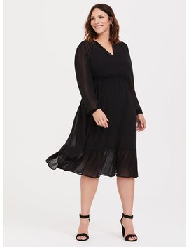 Black Chiffon Midi Dress by Torrid