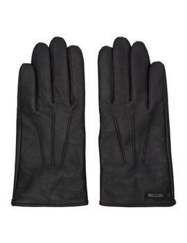 Black Leather Hainz Gloves by Boss