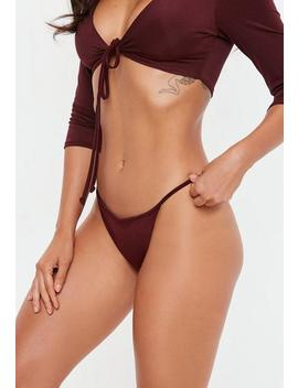Burgundy Tanga Brief by Missguided