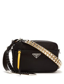 Stud Embellished Strap Nylon Cross Body Bag by Prada