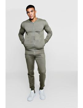 Man Embroidered Fleece Bomber Tracksuit by Boohoo