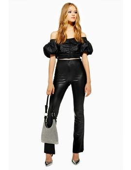 Faux Leather Flare Trousers by Topshop