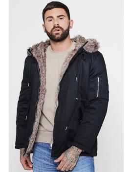 Cotton Padded Parka With Faux Fur Hood by Boohoo