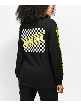 Santa Cruz Checkered Stripe Black &Amp; Yellow Long Sleeve T Shirt by Santa Cruz Skate