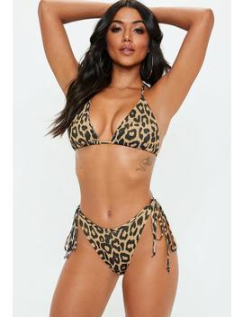 Tan Animal Tie Back Triangle Bikini Top by Missguided