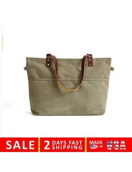 Rockcow Waxed Canvas With Leather Tote Bag Shoulder Metal Zipper Handbag by Rockcow