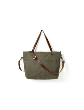 Waxed Canvas With Leather Women Tote Handbag by Canvas