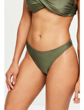 Khaki Super High Leg Bikini Bottoms   Mix & Match by Missguided