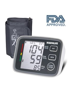 Warmlife Accurate Automatic Upper Arm Blood Pressure Monitor Digital Bp Machine Pulse Rate Monitoring Meter With 8.8 14.1in Cuff Kit,180 Records Two Users,Speaker  Fda Approved (Classic Black) by Warmlife