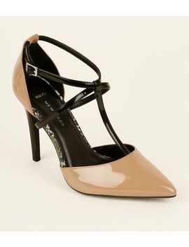 Wide Fit Camel Patent T Bar Pointed Courts by New Look