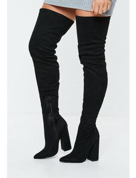 Black Over The Knee Flared Heel Boots by Missguided