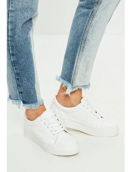 White Faux Leather Flat Form Trainers by Missguided
