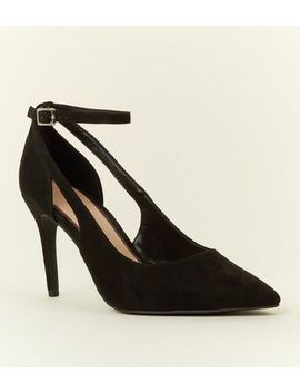 Black Suedette Cut Out Pointed Courts by New Look