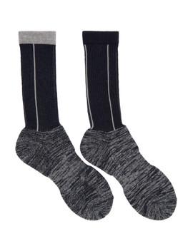 Navy & Grey Pinstripe Socks by Sacai