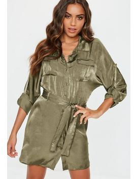 Khaki Tie Waist Utility Satin Shirt Dress by Missguided