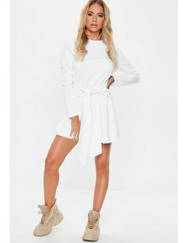 White Tie Waist Sweater Dress by Missguided