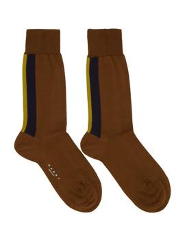 Brown Striped Socks by Marni