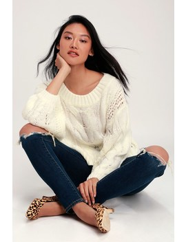 Alden Cream Cropped Balloon Sleeve Knit Sweater by Lulu's