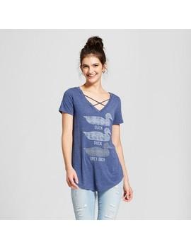 Women's Minnesota Duck, Duck, Gray Duck Short Sleeve Cross Front Drapey Graphic T Shirt   Awake Navy by Awake