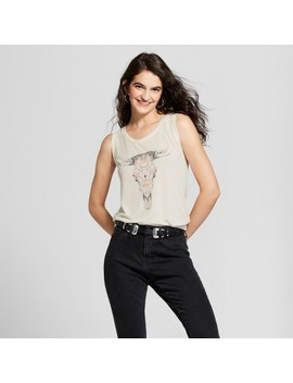 Women's Drapey Tie Back Cow Skull Graphic Tank Top   Fifth Sun (Juniors') Ivory by Fifth Sun