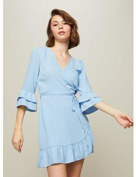 Petite Blue Frill Ruffle Wrap Dress by Miss Selfridge