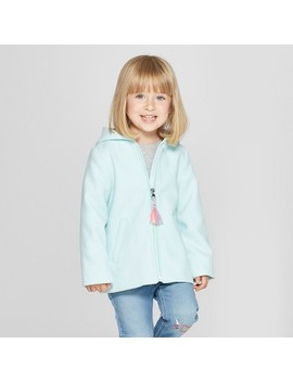 Toddler Girls' Faux Wool Unicorn Overcoat   Cat & Jack™ Aqua by Cat & Jack™