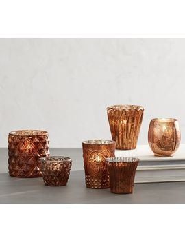 Antiqued Mercury Votive Holder, Set Of 6   Copper by Pottery Barn