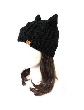 Wrapables® Cable Knit Cat Ears Beanie, Black by Wrapables®