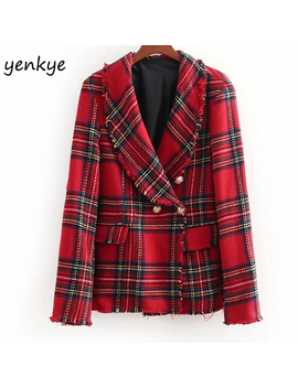 European Style Women Vintage Checkered Tweed Blazer Feminino Notched Collar Long Sleeve Double Breasted Elegant Office Blazer by Yenkye