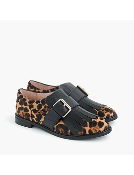 Kiltie Monk Strap Loafers In Leopard Calf Hair by J.Crew