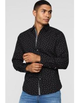 Geo Long Sleeve Woven Top   Black by Fashion Nova