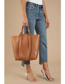 Chrissy Brown Studded Tote by Tobi