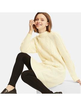 Women Cable Knit Long Sleeve Dress by Uniqlo