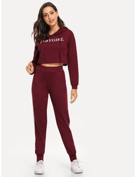 Letter Print Crop Hoodie With Pants by Romwe