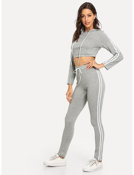 Stripe Contrast Crop Hoodie & Leggings by Romwe