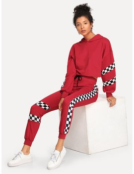 Plaid Panel Hoodie Top With Drawstring Pants by Romwe