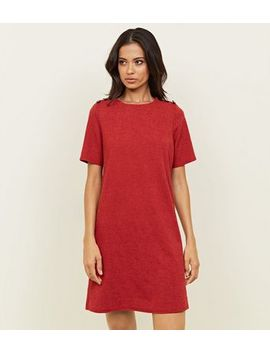 Red Cross Hatch Button Shoulder Tunic Dress by New Look