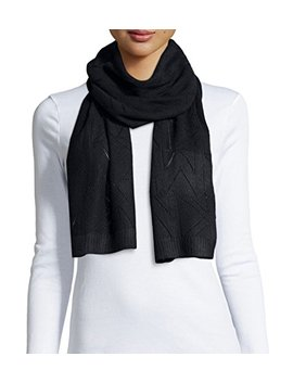 Michael Kors Women's Pointelle Logo Scarf, Black by Michael Kors