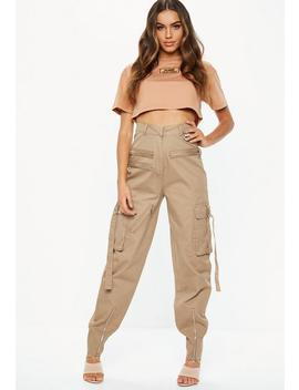 Fanny Lyckman X Missguided Camel Cargo Zip Utility Pants by Missguided